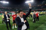 Marcelino festeja el triunfo en la Copa del Rey el pasado mes de mayo en Sevilla.