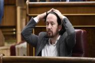 Pablo Iglesias, el pasado miércoles 11, durante el Pleno en el Congreso de los Diputados.