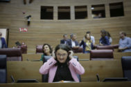 La vicepresidenta Mónica Oltra, esta semana en las Cortes Valencianas.