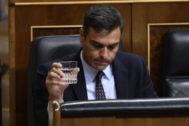 El Presidente del Gobierno en funciones, Pedro Sánchez, en el pleno del 11 de septiembre en el Congreso de los Diputados
