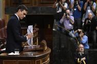 El presidente del Gobierno en funciones, Pedro Sánchez, en el Congreso el pasado miércoles.