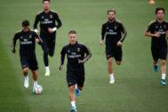 Eden Hazard, en el entrenamiento previo al partido contra el Levante.