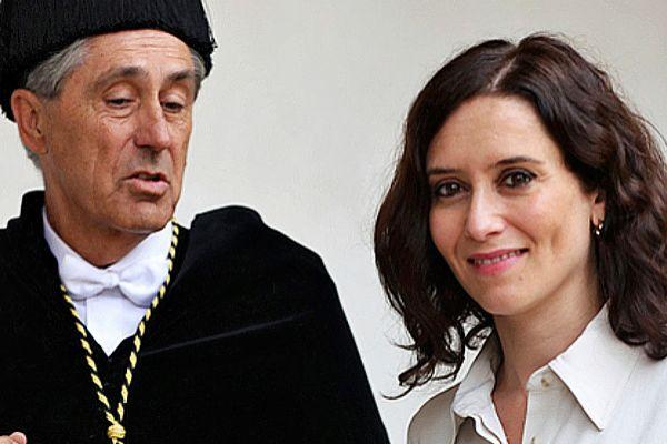 Isabel Díaz Ayuso con el rector de la Universidad de Alcalá,...