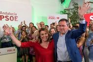 Susana Díaz y Juan Espadas celebran los resultados electorales en las muncipales del 26 de mayo.