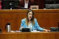 La consejera de Ciencia  y Universidad, Maru Díaz,  en el Parlamento aragonés