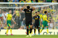 """Soccer Football - Premier League - Norwich <HIT>City</HIT> v <HIT>Manchester</HIT> <HIT>City</HIT> - Carrow Road, Norwich, Britain - September 14, 2019 <HIT>Manchester</HIT> <HIT>City</HIT>'s Rodri looks dejected during the match Action Images via Reuters/John Sibley EDITORIAL USE ONLY. No use with unauthorized audio, video, data, fixture lists, club/league logos or """"live"""" services. Online in-match use limited to 75 images, no video emulation. No use in betting, games or single club/league/player publications. Please contact your account representative for further details"""