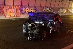 Así ha quedado uno de los vehículos implicados en el accidente.
