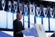 Florentino Pérez, durante su discurso en la asamblea anual de socios.