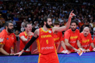 Basketball - FIBA World Cup - Final - Argentina v Spain Basketball - FIBA World Cup - Final - Argentina v Spain - Wukesong Sport Arena, Beijing, China - September 15, 2019 Spain's <HIT>Ricky</HIT> <HIT>Rubio</HIT> reacts during the match REUTERS/Jason Lee