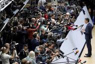 Pedro Sánchez atiende a los medios en el primer Consejo Europeo celebrado tras las elecciones del 26-M.