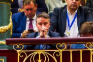 Iván Redondo, director de gabinete de Sánchez, en la tribuna del Congreso durante la moción de censura a Rajoy.