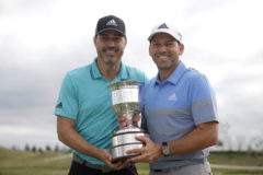 BADHOEVEDORP, NETHERLANDS - SEPTEMBER 15: <HIT>Sergio</HIT> <HIT>Garcia</HIT> of Spain poses with the trophy and his brother Victor <HIT>Garcia</HIT> following his victory during Day Four of the KLM Open at The International Golf Course on September 15, 2019 in Badhoevedorp, Netherlands. (Photo by Dean Mouhtaropoulos/Getty Images)