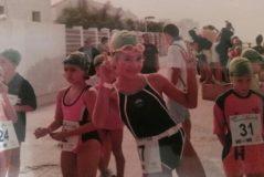 Alba Vázquez, con ocho años, cuando ganó el Triatlón Doñana