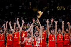 <HIT>Beijing</HIT> (China).- Players of Spain celebrate with the World Cup trophy following their win against Argentina in the FIBA Basketball World Cup 2019 final match in <HIT>Beijing</HIT>, China, 15 September 2019. (Baloncesto, España) EPA/