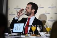 Pablo Casado, esta mañana en un desayuno informativo en Madrid.