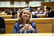 La ministra de Economía, Nadia Calviño, en el Senado.