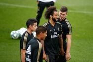 Soccer: La Liga - Real <HIT>Madrid</HIT> training day <HIT>Marcelo</HIT> of Real <HIT>Madrid</HIT> and Luka Jovic of Real <HIT>Madrid</HIT> during the training season of Real <HIT>Madrid</HIT> at Ciudad Deportiva Real <HIT>Madrid</HIT> in Valdebebas, <HIT>Madrid</HIT>, Spain, on September 13, 2019. 13/09/2019 ONLY FOR USE IN SPAIN