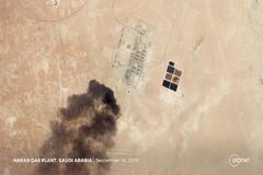Imagen del ataque con drones a la refinería saudí.