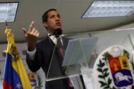 Venezuelan opposition leader Juan <HIT>Guaido</HIT>, who many nations have recognised as the country's rightful interim ruler, delivers a news conference in Caracas