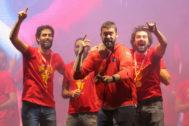 Beirán, Ricky, Marc Gasol y Llull, durante la fiesta de Colón.