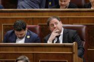 Oriol Junqueras y Gabriel Rufián, en el Congreso el pasado mayo