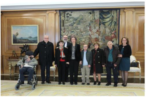 La Reina Sofía el 22 de febrero de 2018 con los representantes del...