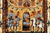 Ilustración de la guerra de las cruzadas en la que musulmanes y cristianos pelean por Jerusalén.