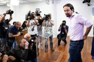 Pablo Iglesias, durante su comparecencia ante los medios