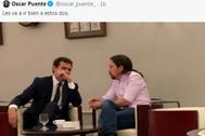 """Polémica por una foto de Rivera e Iglesias en la cafetería del Congreso difundida por un portavoz del PSOE: """"No tenéis vergüenza"""""""