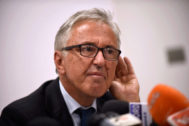 FILE PHOTO: Autostrade per l'Italia CEO <HIT>Castellucci</HIT> gestures during news conference in Genoa