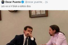 Un portavoz del PSOE difunde una foto de Rivera e Iglesias en la cafetería del Congreso