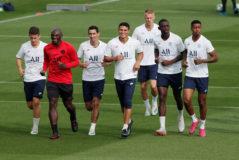 Los jugadores del PSG, durante un entrenamiento.