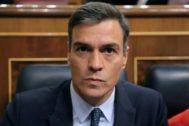 El presidente del Gobierno en funciones, Pedro Sánchez, este miércoles en el Congreso de los Diputados.