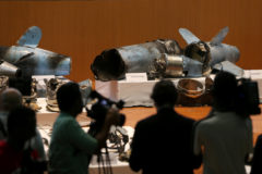 Remains of the missiles which were used to attack an Aramco oil facility, are displayed during a news conference in Riyadh