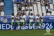 Los jugadores del Elche celebran un gol, en imagen de archivo.