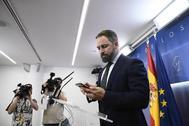Santiago Abascal, ante de atender a los medios en el Congreso