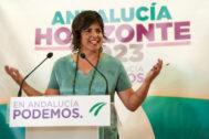Teresa Rodríguez, durante una rueda de prensa tras su regreso a la actividad parlamentaria.