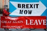 Manifestantes pro Brexit, en Londres.