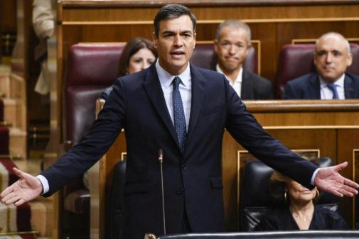 Pedro Sánchez, ayer, en la última sesión de control de la...
