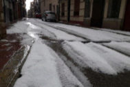 Una tromba de agua y granizo lleva el invierno a Vilafranca en menos de dos horas