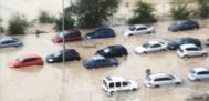 Una calle de Arganda inundad tras el temporal