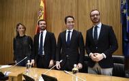 Cayetana Álvarez de Toledo, Pablo Casado, Teodoro García Egea y Javier Maroto, en la reunión del Grupo Parlamentario del PP.