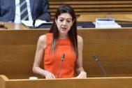 La consellera de Innovación y Universidades, Carolina Pascual, ayer en las Cortes.
