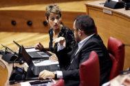 La presidenta de Navarra, María Chivite, en el Pleno