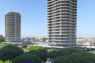 Recreación del proyecto de las torres de viviendas en Punta Umbría (Huelva).