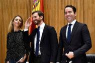 Cayetana Álvarez de Toledo, Pablo Casado y Teodoro García Egea, en el Congreso