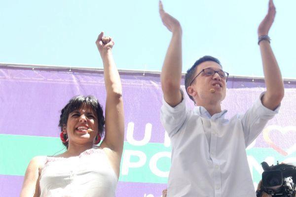 Teresa Rodríguez e Íñigo Errejón, durante un acto de Unidas Podemos en junio de 2016.