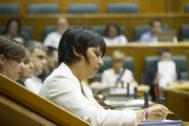 La bancada de EH Bildu durante el pleno.