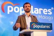 Pablo Casado, durante un acto del PP en Málaga