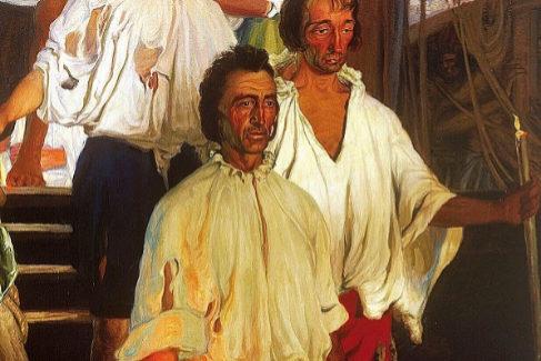 Llegada a Sevilla de Elcano tras la primera circunnavegación del mundo, pintado por Elías Salaverría en 1919, con motivo del IV centenario.